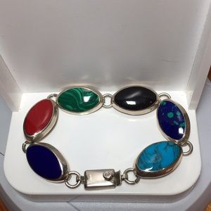 Vintage 925 Silver Bracelet with colorful stones